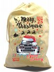 X-Large Cotton Drawcord Koolart Christmas Santa Sack Stocking Gift Bag With Lancia Delta Rally Image